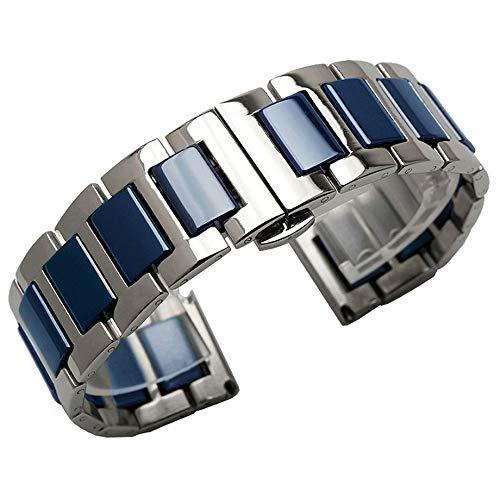 Two Tone 18mm Blau Keramik Armband Silber Edelstahl Uhrenband Alle Links Abnehmbares Armbanduhr für Damen Herren Ersatz Metall Uhrarmband mit Werkzeugen