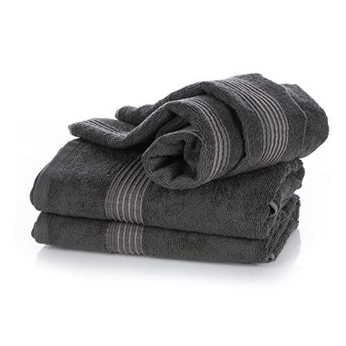 Wunderwuschel Handtuch 50x100cm 2er Set aus Bambus-Viskose (60%) und Baumwolle (40%) - 510g Uni Farben in Grau Anthrazit, Hotelqualität mit Schlaufe für Handtuchhalter