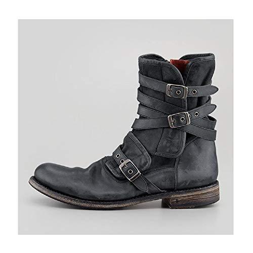Western Cowboy Short Boots Herren Side Reißverschluss Gürtel Schnalle Knight Boots Low Heel Round Toe Biker Stiefel Winter Warme Kletterschuhe,Grey-42