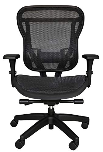 Oak Hollow Furniture Aloria Series Office Chair Ergonomic Executive Computer Chair Mesh Seat and Backrest, Adjustable and Comfortable, Lumbar Support Swivel and Tilt (Non-Headrest, Black)