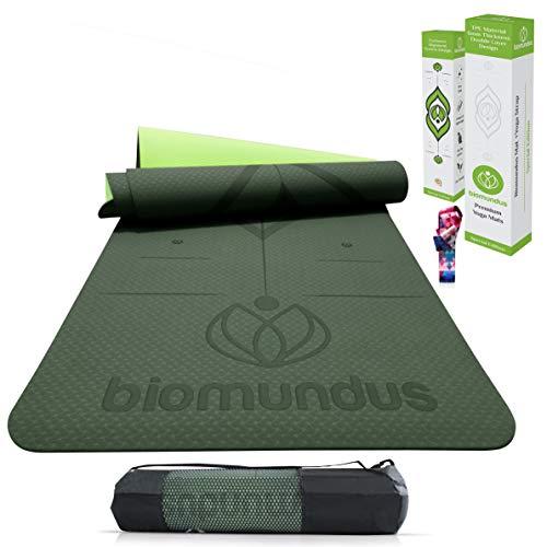 biomundus Esterilla Yoga Mat Antideslizante. Esterilla Deporte en casa TPE con Línea...
