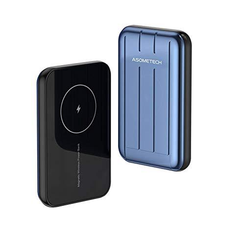 Cargador inalámbrico Banco de energía 5000mAh Powerbank PD USB C Carga rápida Batería externa para iPhone 12 Pro (azul, grande)
