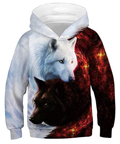 Goodstoworld 3D Wolves Kapuzenpullis Druck Hoodies Unisex Funny Kapuzenpullover Jungen Mädchen Kapuze Pullis Langarm Sweatshirt mit Taschen 8-11 Jahre