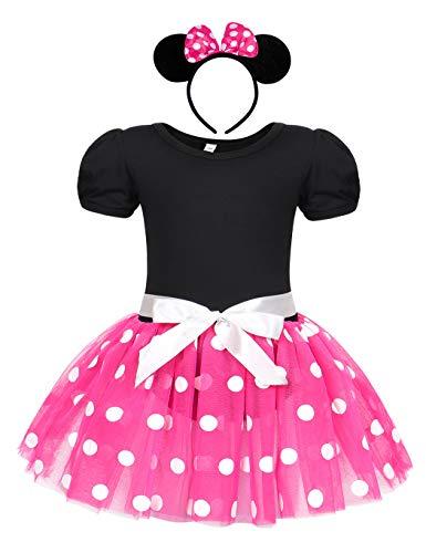 Jurebecia niñas Vestido de Lunares + Mini Mouse Ears Diadema Vestido de...