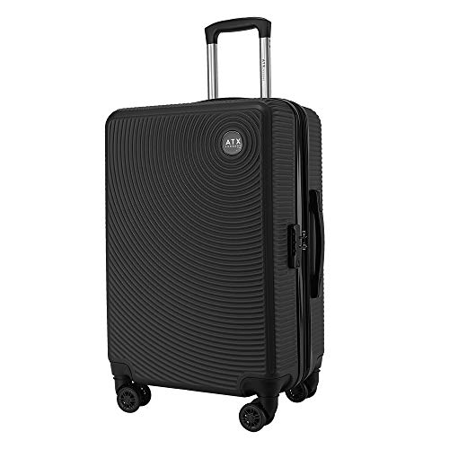 ATX Luggage 28' Large Expandable Hard Shell Suitcases Trolley Carry On Hand Cabin Luggage Travel Bag Lightweight 2 Year Warranty Durable 8 Spinner Wheels & Built in Lock (28' Large Expander, Black)