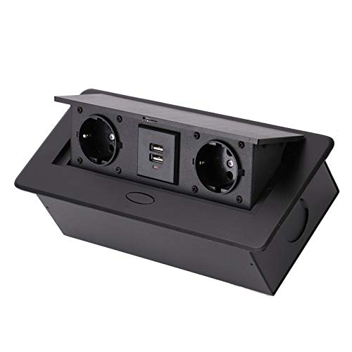 BALLSHOP Versenkbare Steckdose Tischsteckdose Einbausteckdose USB Versenkbare Einbau Steckdosenleiste 3 Fach