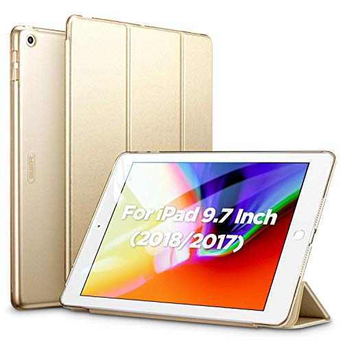 ESR Yippee Trifold Smart Case for iPad 9.7 2018/2017 [A1822, A1823,A1893,A1954](Not for iPad 10.2), Lightweight Smart Cover with Auto Sleep/Wake, Hard Back Cover for iPad 5th/6th Gen,Gold