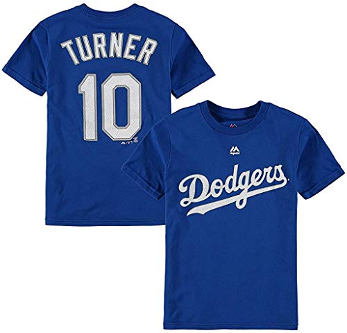 Justin Turner Los Angeles Dodger #10 Blue Youth Name and Number Jersey T-Shirt (Large 14/16)