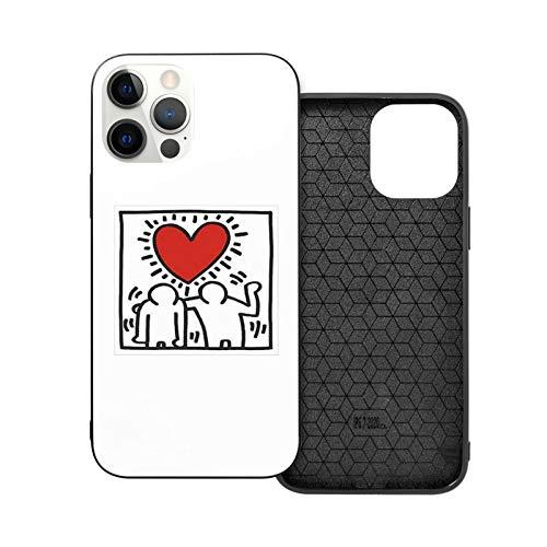 XXUREJK Compatibile con iPhone SE 2020 Custodie,iPhone 7/8 Custodie Keith Haring Design Vetro temperato Custodie per Telefoni TPU Protezione Antiurto Cover