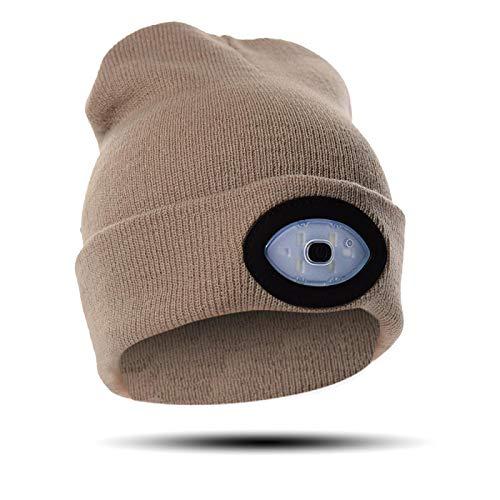 Regalos para hombres Beanie Hat con luz - LED Beanie Hats para hombres y mujeres, calcetines de relleno para hombres Beanie con luz LED recargable, sombrero LED para cazar/acampar/correr/ciclismo