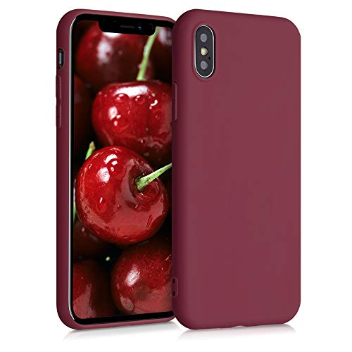 kwmobile Funda Compatible con Apple iPhone X - Carcasa de TPU Silicona - Protector Trasero en Rojo lacre