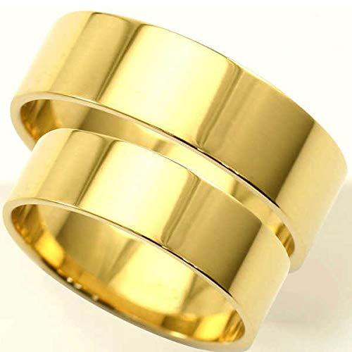 [京都ジュエリー工房] 18金 結婚指輪 平打ちリング 5mm マリッジリング ペアリング 造幣局検定マーク ホールマーク mari-hirauchi-k18-2 メンズ10号・レディース11号