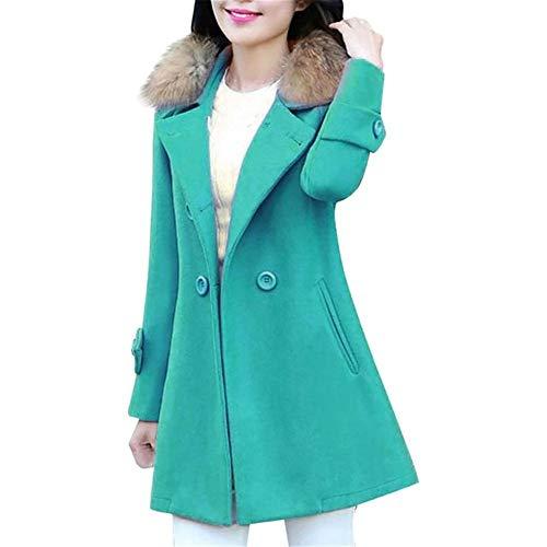 DOUFAN Herbst Winter Frauen Woolen Thick Pelzkragen Mäntel Weiblich Medium Long Jacken Oberbekleidung Warm Thick Female Slim Fit