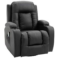 HOMCOM massagestoel TV stoel Relax stoel TV Fauteuil Heat functie met afstandsbediening verstelbare functie en drankhouders (zwart)*