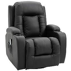 HOMCOM Massagesessel Fernsehsessel Relaxsessel TV Sessel Wärmefunktion mit Fernbedienung Liegefunktion und Getränkehaltern (creme)