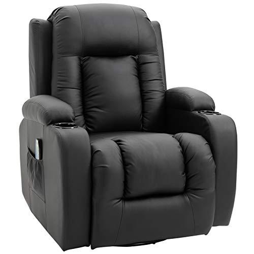 HOMCOM Massagesessel Fernsehsessel Relaxsessel TV Sessel Wippenfunktion Wärmefunktion mit Fernbedienung Liegefunktion und Getränkehaltern (schwarz)
