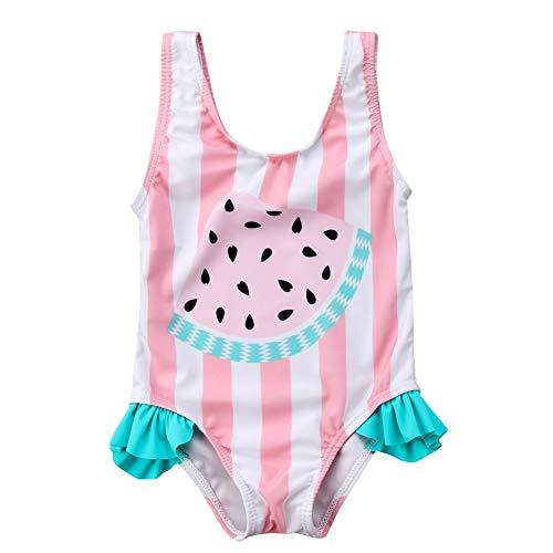 Chollius Disfraz de una pieza entera para bebé niña sin mangas, estampado de Arcobeleno 0-3 años Rosa Sandía 12-18 meses