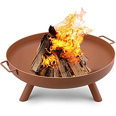 Amagabeli Fire Pit Outdoor Wood Burning Fire Bowl 30in with A Drain Hole Fireplace Extra Deep Large Round Cast Iron Outside Backyard Deck Camping Beach Heavy Duty Metal Grate Rustproof Bronze