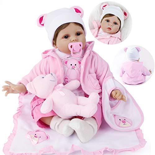 ZIYIUI 22 Pulgadas 55 cm Muñecas Reborn Bebé Realista Suave Silicona Simulación Vinilo Recién Nacido Hecho a Mano Bebe Muñecos Regalo Magnetismo Juguetes para niños Mayores de 3 años