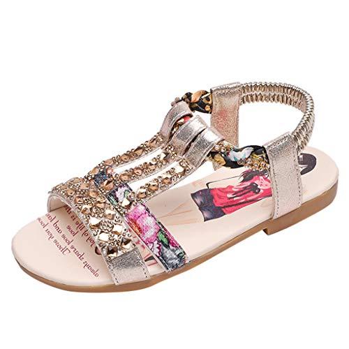Moonuy Summer Girls Vintage Boho Sandales Mode Nouveau-Né À Bout Ouvert Sandales Plates Enfants Bébé Patchwork Chaussures Romaines Enfants Filles D'été Casual Sandales Chaussures
