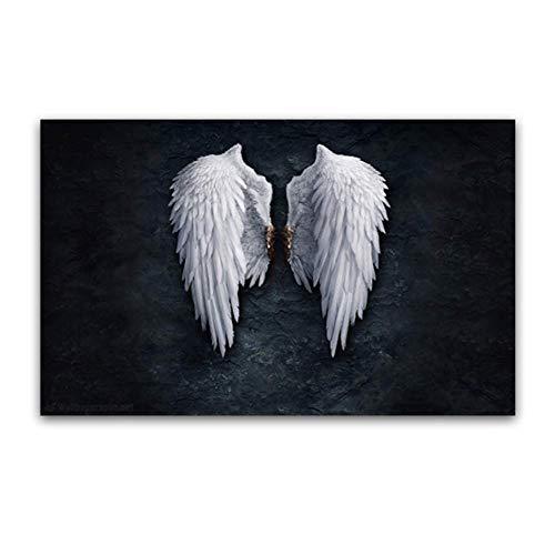 NRRTBWDHL Modernes Schwarz-Weiß-Design Feder Engel Flügel Kunstdruck Poster auf Leinwand Wandbilder Dekoration -40X60Cm Massivholz Innenrahmen