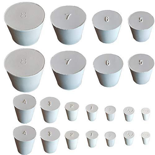 HeyWin Vollgummi-Stopfen, 22 Stück, eine Auswahl von Stoppern von Größe #000 bis #8, zum Verschließen von Ballonflaschen, Wassertank usw. (2 Stück je Größe).