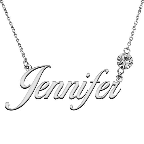LikeFun Custom Name Jewelry with Birthstone Pendant Gifts in Silver for My Girl Jennifer