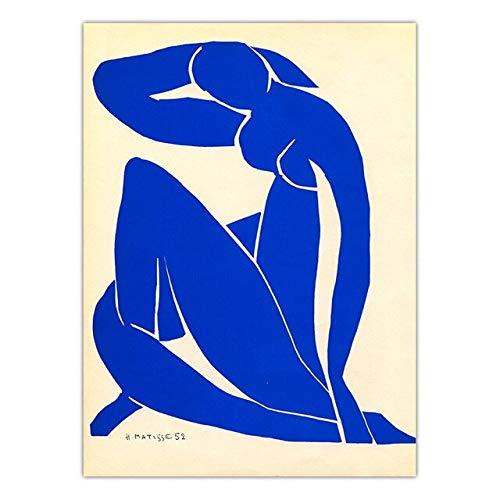(Geen frame) 60x80 CM Home Decor Poster Modulaire Foto Abstract Franse Henri Matisse Blauw Naakt Canvas Schilderij Prints Nordic Stijl Wall Art Framework