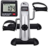 himaly Mini Exercise Bike Portable Home Pedal Exerciser Gym Fitness Leg Arm Cardio Training Adjustable Resistance LCD Display Women Men(silver)