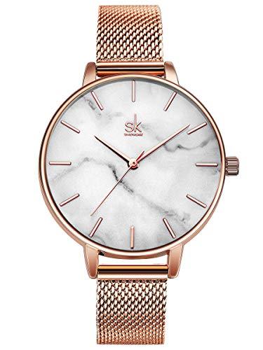 Alienwork Reloj Mujer Oro Rosa Banda de Malla Metálica Blanco Ultra-Delgada Elegante