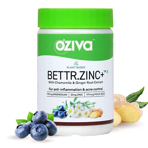 OZiva Plant Based Bettr.Zinc+ (With Zinc, Magnesium,Chamomile & Ginger Root for Anti-inflammation and Acne Control), 60 Capsules (60 capsules)