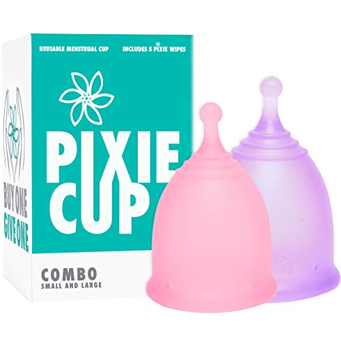 Pixie Cup Rang 1 für komfortabelste Menstruations-Tassen und eine bessere Entfernung Stem als alle anderen Marken Jeder Menstrual Cup One gekauften ist eine Frau in Not gegeben! Combo Pack