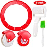 5 Pieces Pizza Tool Set Including Adjustable Silicone Pie Crust Shields(8-14inch), Pastry Wheel Decorator and Cutter, Plastic Lattice Roller Cutter, Baking Brush for Baking Pie Pans Pie Crust Pizza