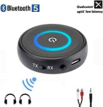 Golvery Bluetooth 5.0 Transmitter Receiver for TV, 2-in-1 aptX Low Latency Wireless Audio Adapter for PC CD DVD Radio Projector Home Car Stereo System with 3.5mm RCA Aux Jack, Pair 2 at Once