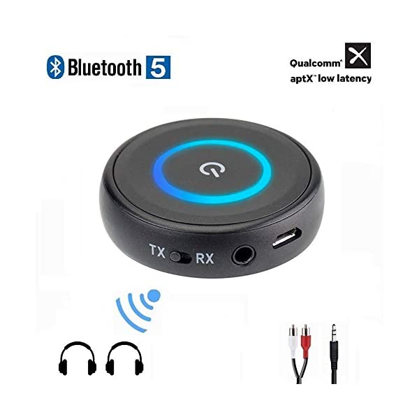 Golvery Bluetooth 5.0 Transmitter Receiver for TV, 2-in-1 aptX Low Latency Wireless Audio Adapter for PC CD DVD Radio Projector Home Car Stereo System with 3.5mm RCA Aux Jack, Pair 2 at Once 3