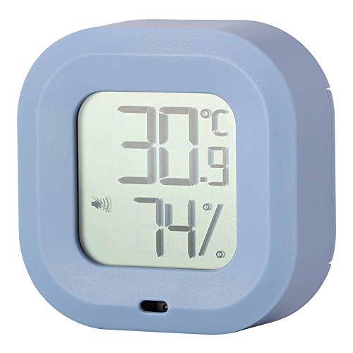 Tenpac Termohigrómetro, Monitor electrónico de Temperatura y Humedad, Interruptor multilingüe de -20 ℃ a 65 ℃ para Garaje en casa(Azul)