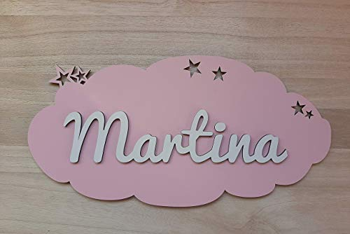 Placa nube de madera personalizada con nombre. Varios colores disponibles