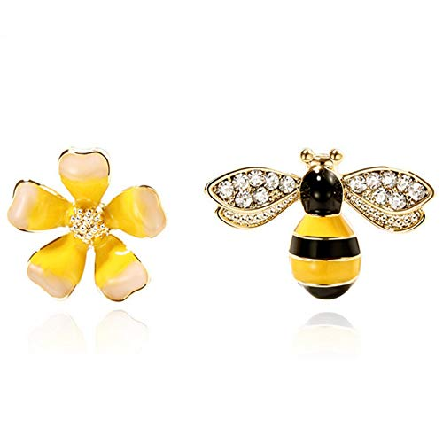 MLXG - Pendientes asimétricos, diseño de abeja con flor