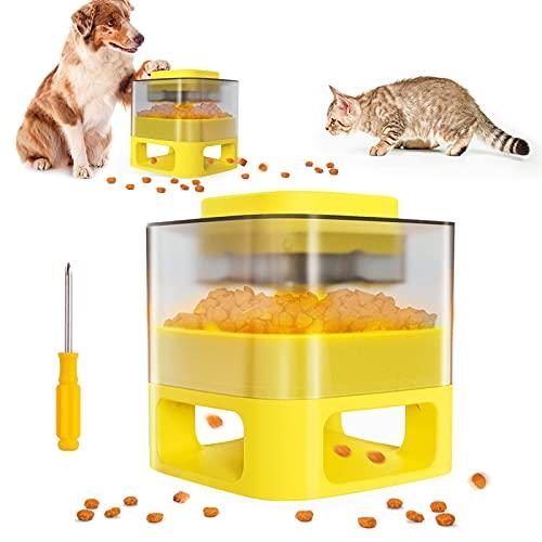 Gvoo Futterautomat Hunde und Katze,Gvoo Futterspender Katze und Hunde Haustierkatapult,Slow Feeder Bowl Hundespielzeug,Interaktives Puzzle Slow Feeder Bowl
