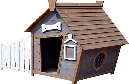 dobar 55016FSCe Outdoor-Hundehütte mit Spitzdach und seitlicher Veranda Comic-Design, FSC-Holz, 146, 3 x 90 x 96 cm, Grau