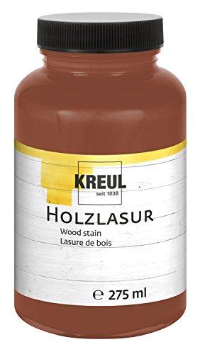 Kreul 78216 - Farbintensive Acryl Holzlasur, für unbehandeltes, natürliches Holz und saugende Naturpapiere, fließend - flüssige Farbe auf Wasserbasis, 275 ml Kunststoffglas, maron