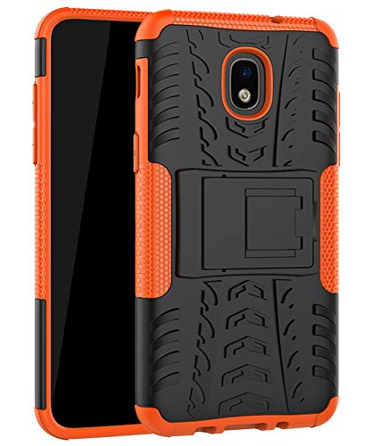 Galaxy J7 Refine Case,J7 V 2018,Galaxy J7 Top,J7 Crown,J7 Aero,J7 Aura,J7 Eon,J7 Star Case, Yiakeng Shockproof Protective with Kickstand Phone Cases for Samsung J737V,J737T (Orange)