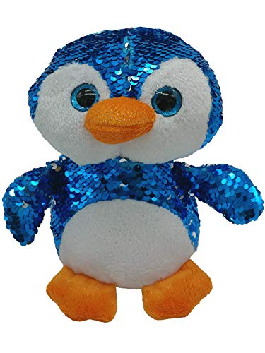 LMC Products Reversible Sequin Penguin Plush - Flip Sequin Stuffed Animal Penguin - Blue to Silver