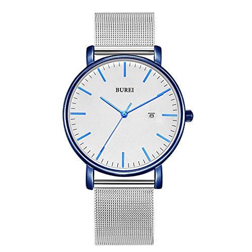 BUREI Herrenuhr Ultra Thin Minimalist Armbanduhren Mode Weißes-Zifferblatt Blaue Hands Kalenderfenster mit Edelstahl-Mesh-Band
