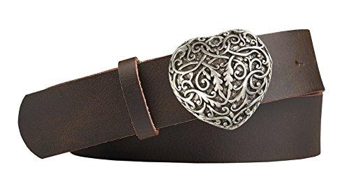 Unbekannt Herziger Trachten-Leder-Gürtel mit Druckknopfriemen Schliesse in Herzform silber antik Farbe dunkelbraun