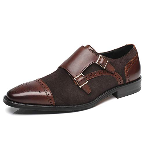 La Milano Men's Suede Leather Dress Shoes Double Monk Strap Cap Toe Slip On Loafer Oxford Classic Comfortable Formal Business Shoes for Men