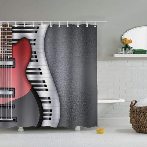 fptcustom Gitarre Duschvorhang Party Musikinstrument Musiknoten Musik Duschvorhang 180X200 cm Mit Haken