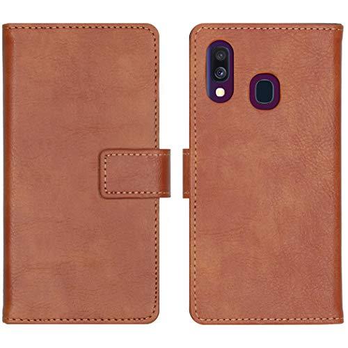 iMoshion kompatibel mit Samsung Galaxy A40 Hülle – Luxuriöse Handyhülle – Handytasche in Braun [Mit Ständer, Platz für 3 Karten, Magnetverschluss]