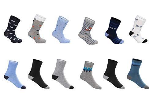 SG-WEAR 12 Paar Kindersocken für Jungen mit hohem Baumwollanteil bunte Kinder Socken in verschiedenen Motiven/Strümpfe in Größe 23-26, 27-30, 31-34, 35-38 / Ganzjahresartikel (Motiv 2, 23-26)