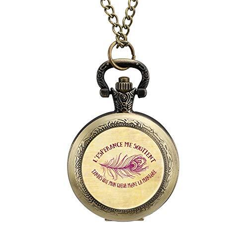 Klassieke Pocket Horloge Veer Motto Maak Ogen Ketting Hanger voor Mannen/Vrouwen Vintage Analoge Quartz Pocket Horloge Arabische Numeralen Retro Ornate horloge, Geschenk voor Vader en Vriendje Aangepaste Gepersonaliseerde Sieraden, Eén maat, Patroon 2
